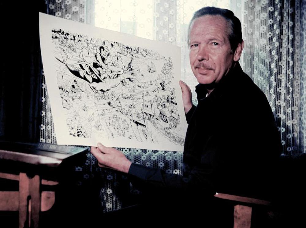 Janusz Christa w 1987 roku z projektem puzzli.